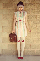 ruby red heart print DIY socks - light pink stripy pastel vintage dress