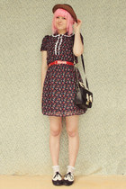 maroon Forever 21  DIY dress - black OASAP bag - white lace frill vintage socks