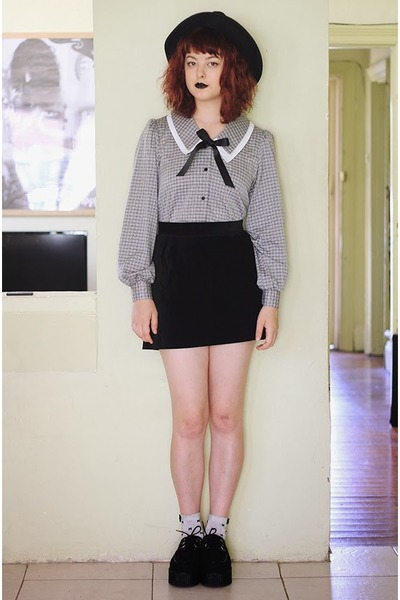 heather gray thrifted blouse - silver sparkly thrifted socks