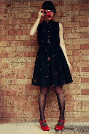 black vintage dress - ruby red red heels wholesale shoes