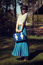 turquoise blue vintage skirt - black wholesale hat - navy wholesale bag