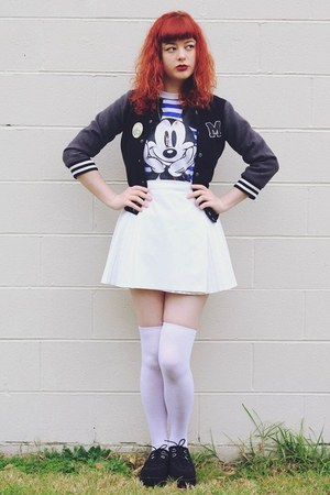 black varsity thrifted jacket - white thrifted skirt