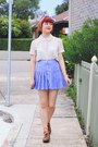 Violet-thrifted-skirt-cream-thrifted-blouse-blue-diy-hair-accessory