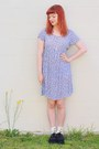 Periwinkle-thrifted-dress-yellow-pineapple-markets-socks