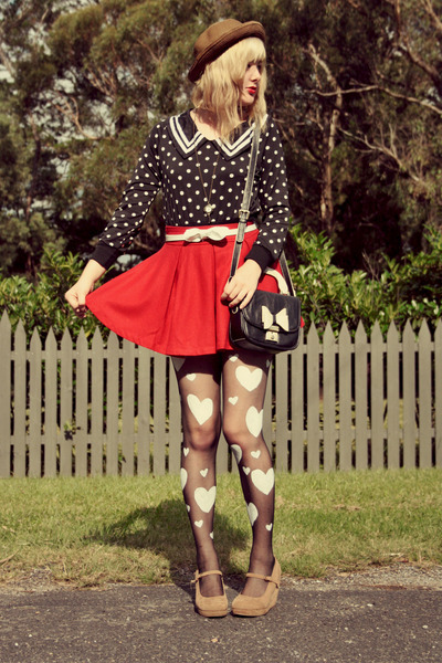 red Wholesale-Dress skirt - black OASAP bag - black heart print DIY stockings