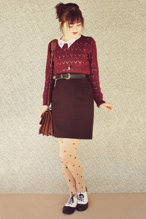 crimson pencil vintage skirt - brick red patterned no brand sweater