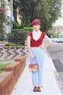 Sky-blue-vintage-pants-ivory-vintage-blouse-red-vintage-cardigan