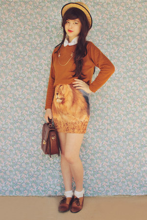 light orange lion print romwe dress - burnt orange vintage sweater