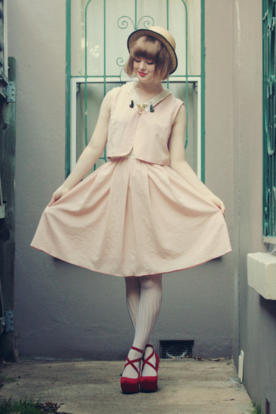 light pink vintage dress - beige wholesale hat - white Ebay tights