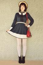 ivory vintage blouse - black Rubi shoes boots - navy wholesale dress