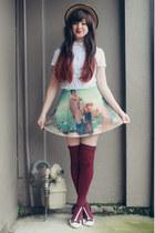 beige wholesale hat - maroon OASAP socks - sky blue romwe skirt