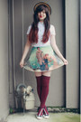 Beige-wholesale-hat-maroon-oasap-socks-sky-blue-romwe-skirt