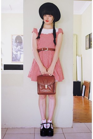 red Bonne Chance Collections dress - brown vintage bag - brick red vintage belt
