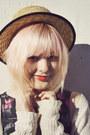 Ruby-red-heart-print-diy-vintage-stockings-beige-boater-wholesale-hat