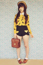 Yellow-horse-print-sheinside-sweater-beige-boater-wholesale-hat