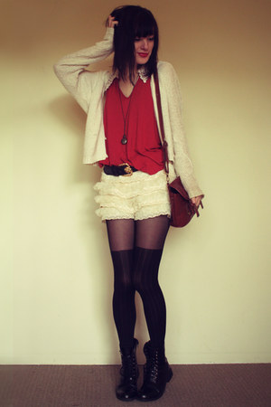 cream Forever 21 cardigan - black black boots department store boots