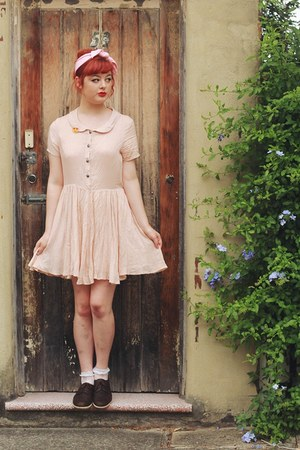 light pink thrifted dress - salmon Hong Kong Shop hair accessory