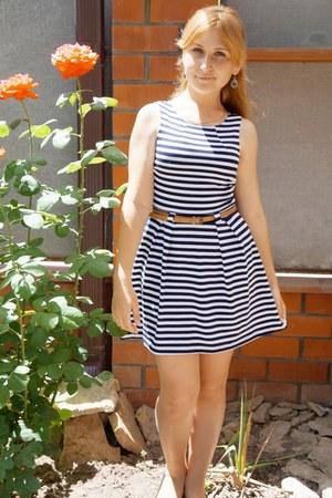 striped Lefon dress - centrobuv flats - blue a gift from my mom earrings