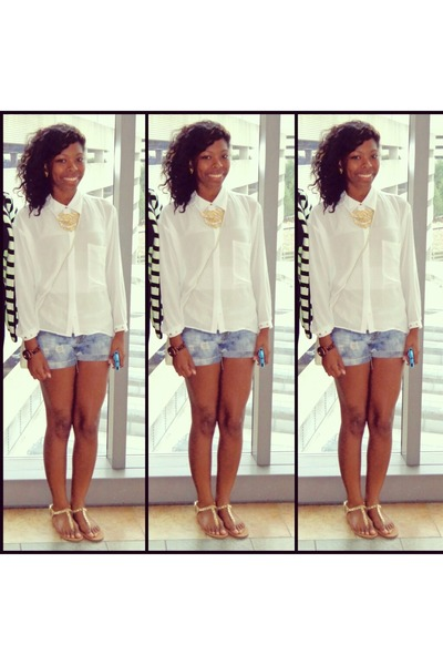 ivory blouse - ivory sheer Forever 21 blouse