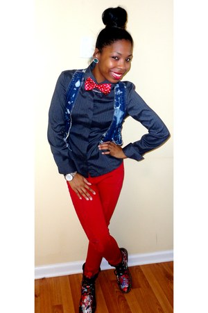 red go jane tie - red Mandee jeans - turquoise blue Mandee earrings