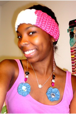 sky blue DIY earrings - hot pink DIY accessories