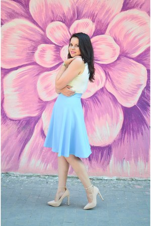 light pink Pink Basis shoes - aquamarine custom made skirt - white romwe top