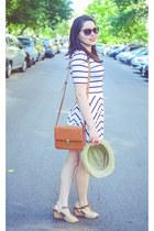 white chicnova dress - brown romwe bag
