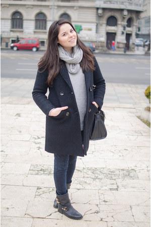 silver OASAP coat - navy Zara jeans - silver Pimkie sweater - silver H&M scarf