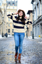 dark brown Lovely shoes boots - blue Zara jeans - beige Mart of China sweater