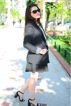 black Zara blazer - black Stradivarius skirt - black Zara sandals