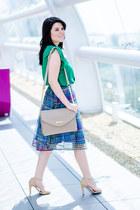 teal romwe skirt - green romwe blouse - beige Zara sandals