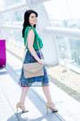 Green-romwe-blouse-teal-romwe-skirt-beige-zara-sandals