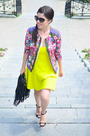 chartreuse Zara dress - salmon Sheinside jacket - black Pink Basis sandals