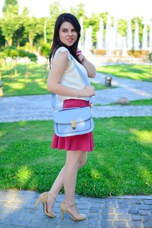 light blue Adona bag - beige Zara sandals - white romwe blouse
