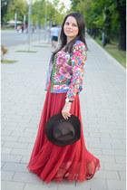 ruby red Sheinside skirt - maroon Zara hat - hot pink Sheinside jacket