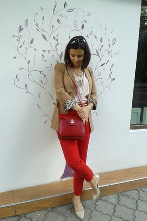 tan Zara blazer - neutral Promod shirt - ruby red DaDa bag - ruby red Zara pants