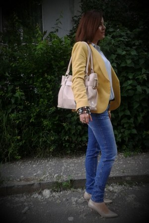 light yellow Zara blazer - light yellow blazer - sky blue Lee Cooper jeans