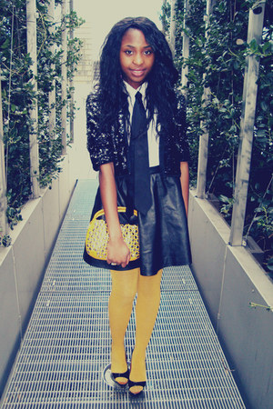 lanvin shoes - DIM tights - Sonia Rykiel bag - leather H&M skirt - H&M tie