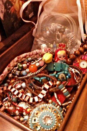 beige COS bracelet - beige Urban Outfitters bracelet - blue from a festival brac