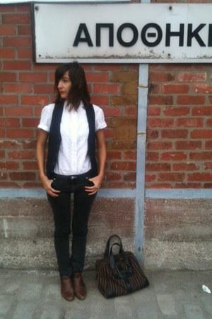 boots - jeans - shirt - bag - vest