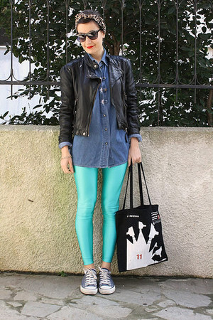 black leather jacket Zara jacket - turquoise blue Wear Vintage leggings
