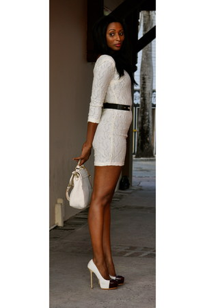 off white lace vintage dress - off white lace chocolate bag
