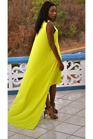 chartreuse asos dress - dark khaki asos heels - bubble gum asos earrings