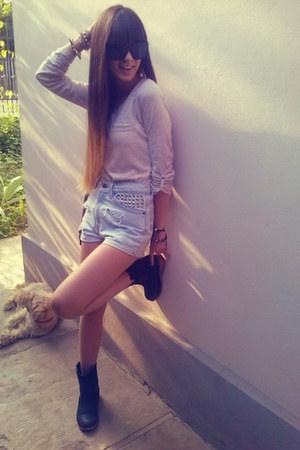 eggshell bershka blouse - black zara boots - periwinkle levis shorts