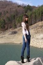 dark green glow boots - silver bershka dress - blue bershka jeans
