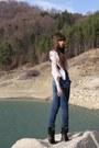 Silver-bershka-dress-dark-green-glow-boots-blue-bershka-jeans
