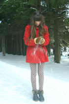 red zara coat - blue stradivarius boots - tan hm with black leggings