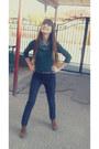 Zara-boots-stradivarius-jeans-glow-scarf-dark-green-bershka-blouse