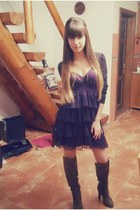 charcoal gray zara boots - deep purple zara dress - black glow blouse