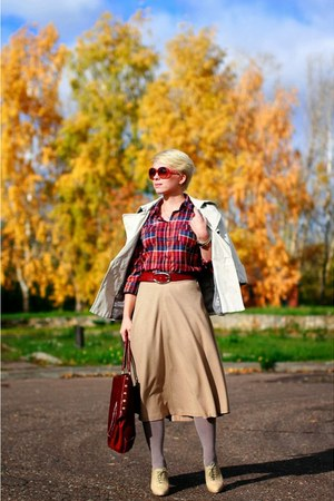 ruby red H&M shirt - brick red Furla bag - camel Zara skirt